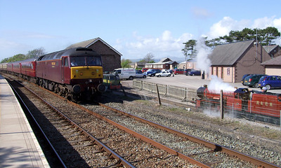 River Mite and Shelagh of Eskdale provide a welcoming party to 47804 on a Railtourer charter passing through Ravenglass on May Day Bank Holiday Monday, 02/05/09.
