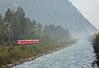 It was followed by the 07:58 RE service from Chur to St Moritz behind Ge 4/4 II 620 'Zernaz' running alongside the Hinterrhein.