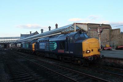 37610 TS Cassady and 37601 work 6M60 Seaton - Sellafield flasks through Workington, 22/02/10.