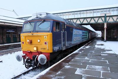 57008 Telford International Railfreight Park 2008 sits in a snowy Workington, 06/01/10.