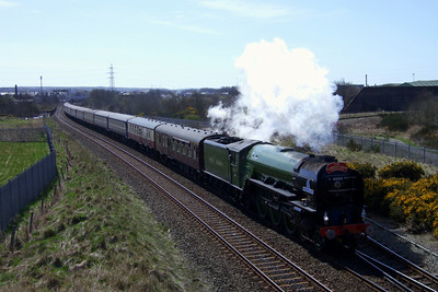 60163 Tornado, Britain's newest main line steam locomotive, visited the Cumbrian Coast, seen here passing Derwent Junction, between Workington and Workington North stations, 14/04/10.
