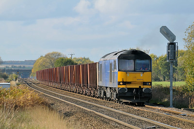Class 60 No 60011 at Hambleton West Junction on 30 October 2010 with the 6D02 09:15 Redcar - Scunthorpe