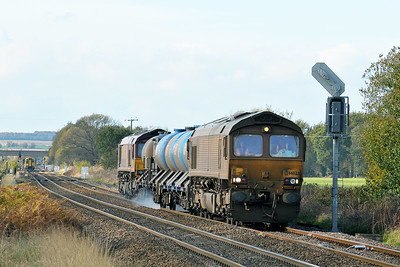 Class 66 No 66023+66076 at Hambleton West Junction on 30 October 2010 with the 3S14 11:29 Sheffield - York Works