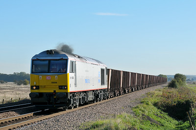 Class 60 No 60099 at Worlaby on 25 October 2010 with the 6T24 11:39 Immingham - Scunthorpe