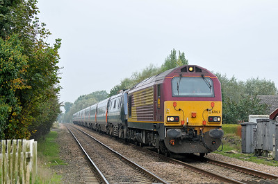 Class 67 No 67023 at Collingham on 9 October 2010 with the 1A23 11:05 Leeds - Kings Cross