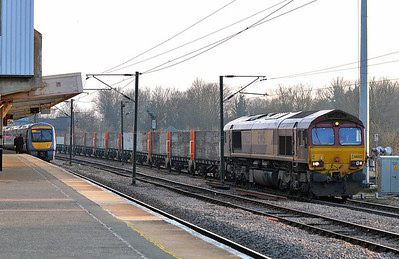 Class 66 No 66023 at Peterborough on 31 January 2011 with the 4E25 11:52 Bow Depot - Heck.