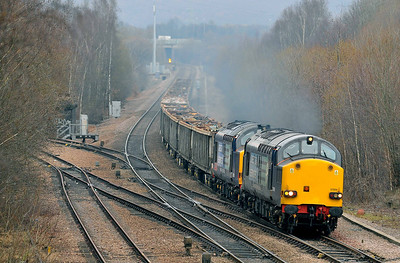 """Class 37 No 37059/37610 """"T.S.(Ted) Cassady 14-5-61 - 6-4-08"""" at Treeton on 22 January 2011 with the 6Z77 09:25 Stockton - Sheerness (running 23 min late)"""