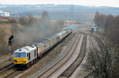 Class 60 No 60099 at Woodhouse on 29 January 2011 with the 1Z27 06:17 Bristol Temple Meads - Deepcar charter.