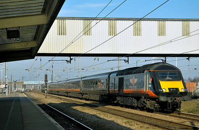 Class 43 No 43468 at Peterborough on 31 January 2011 with the 1A61 09:18 Sunderland - Kings Cross service.