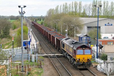 Class 66 No 66112 at Sherburn-in-Elmet on 2 April 2011 with the 6D02 09:25 Redcar Ore Terminal - Scunthorpe (running 4 min early)