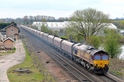 Class 66 No 66011 at Sheburn-in-Elmet on 2 April 2011 with the 6N30 12:33 Milford West Sidings - Tyne Yard (running 3 min early)