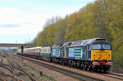 "Class 47 No 47802 ""Pride of Cumbria""/47501 ""Craftsman"" passing Gascoigne Wood on 2 April 2011 with the 1Z30 11:14 Derby - Grantham Northern Bell charter. (running 11 min early)"