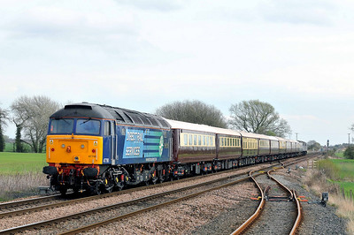 "Class 47 No 47790 ""Galloway Princess"""" passing Gascoigne Wood on 2 April 2011 on the rear of the 1Z30 11:14 Derby - Grantham Northern Bell charter. (running 11 min early)"
