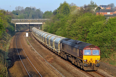 Class 66 No 66143 in Horbury Cutting on 9 April 2011 with the 6F70 05:30 Clitheroe - Toton Yard (running 10 min early)