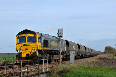 Class 66 No 66616 at Mauds Bridge on 2 April 2011 with the 6Y17 13:54 Immingham - Ferrybridge Power Station (running 38 min late)