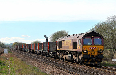 Class 66 No 66191 at Hambleton West Junction on 2 April 2011 with the 4D56 11:32 Biggleswade - Heck (running 10 min early)