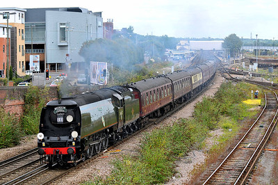 """Class WC No 34067 """"Tangmere"""" at Eastleigh on 9 August 2011 with the 1Z94 08:45 Victoria - Weymouth (running 2 min late)"""