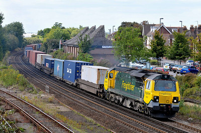 Class 70 No 70001 at Eastleigh on 9 August 2011 with the 4V52 10:54 Southampton Maritime - Wentloog (running 1 min late)