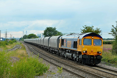 """Class 66 No 66703 """"Doncaster PSB 1981-2002"""" at Whitley Bridge on 1 August 2011 with the 6H90 13:44 Tyne Dock - Drax Power Station (running 5 early)"""