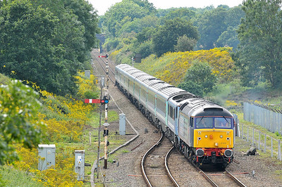 Class 47 No 47810/90007 at Acle on 6 August 2011 with the 1V28 Liverpool Street  - Great Yarmouth (running 2 min late)
