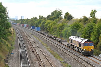 Class 66 No 66145 at South Moreton on 8 August 2011 with the 4O30 13:19 Trafford Park - Southampton Western Docks (running 9 min late)