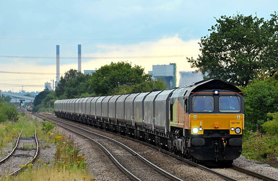Class 66 No 66746 (ex 66845) at Whitley Bridge on 1 August 2011 with the 6C39 14:30 Immingham - Eggborough Power Station (running 1 early)