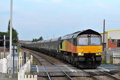 Class 66 No 66746 (ex 66845) at Whitley Bridge on 1 August 2011 with the 4R32 Eggborough Power Station - Immingham (running 10 early)