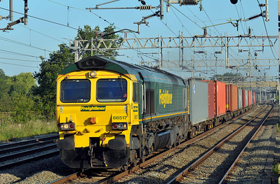 Class 66 No 66517 at Acton Bridge on 14 July 2011 with the 4K74 06:16 Ditton F.L.T. - Crewe Basford Hall (running 9 min early)