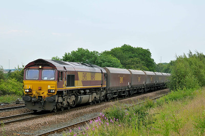 Class 66 No 66145 at Stourton on 5 July 2011 with the 4S91 16:45 Drax Power Station - New Cumnock (running 1 min late)
