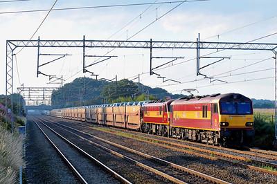Class 92/90 No 92001/90028 at Acton Bridge on 17 July 2011 with the 6X41 00:32 Dagenham Dock - Garston Yard (running 11 min early)