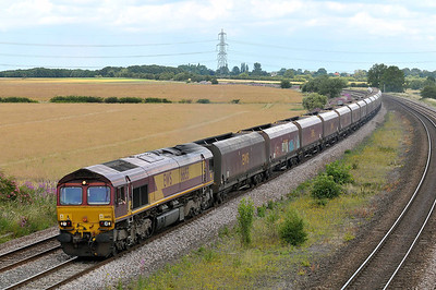 Class 66 No 66155 at Burton Salmon on 9 July 2011 with the 4M58 13:32 Milford West - Carlisle Yard