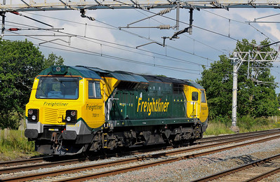 Class 70 No 70011 at Acton Bridge on 14 July 2011 with the 0Z70 09:07 Crewe Basford Hall - Liverpool Bulk Terminal (running 7 min early)