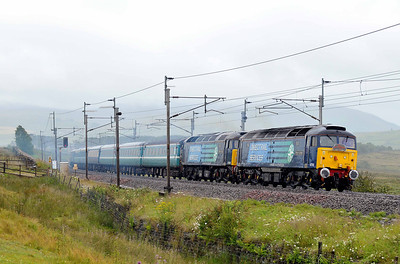 """Class 47 No 47712 """"Pride of Carlisle""""/47832 """"Solway Princess"""" at Scout Green on 16 July 2011 with the 1Z33 05:54 Eastleigh - Carlisle (running 4 min early)"""