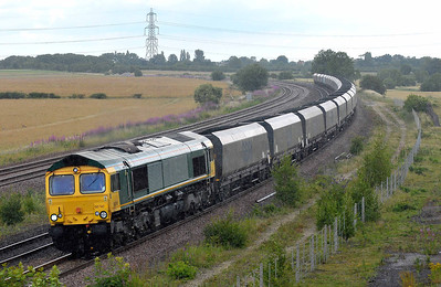 Class 66 No 66740 at Burton Salmon on 9 July 2011 with the 6C09 08:45 Immingham - Eggborough Power Station (running 2 min early)