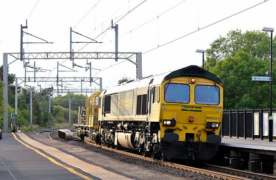 Class 66 No 66531 at Long Buckley on 11 July 2011 with the 6Y70 17:54 Crewe Basford Hall - Willesden (running 3 early)