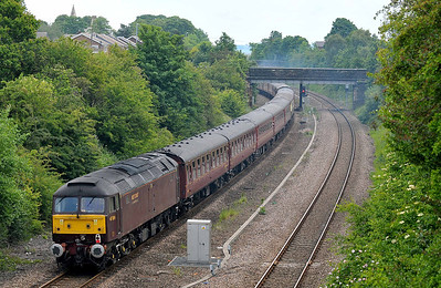 Class 47 No 47804 in Horbury Cutting on 4 June 2011 on the rear of the 1Z31 06:20 Hereford - Durham