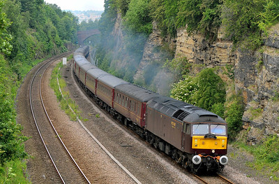 Class 47 No 47826 in Horbury Cutting on 4 June 2011 with the 1Z31 06:20 Hereford - Durham (running 1 min late)