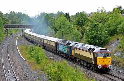 Class 47 No 47790/47810 in Horbury Cutting on 28 May 2011 with the 1Z54 06:00 Birmingham International - Alnmouth Northern Bell (running 1 min early)