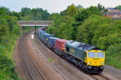 Class 66 No 66571 in Horbury Cutting on 28 May 2011 with the diverted 4E48 00:01 Southampton Maritime - Leeds FLT (running on time)