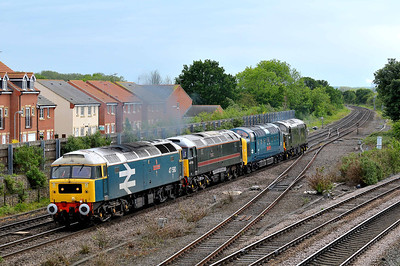 "Class 47 No 47580 ""County of Essex"" with 47715 ""Poseidon""/55019 ""Royal Highland Fusilier""/D6700 at Church Fenton on 23 May 2011 with the 0Z25 13:34 Keighley - Carnforth (via York NRM & Northallerton) (running 14 min early)"
