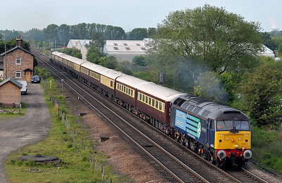"Class 47 No 47832 ""Solway Princess"" at Sherburn-in-Elmet on 21 May 2011 with the 1Z45 05:40 Leicester - Edinburgh Park (running 1 min late)"