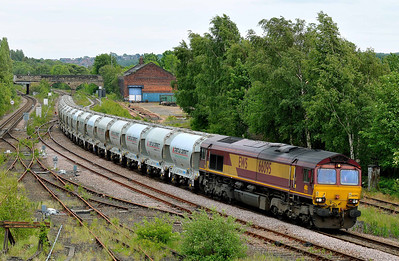Class 66 No 66095 at Healey Mills on 27 May 2011 with the 6F94 11:03 St.Pancras - Clitheroe (running 6 min early)