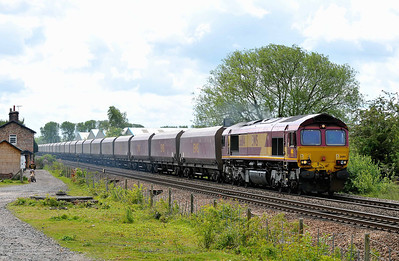 Class No 66114 at Sherburn-in-Elmet on 14 May 2011 with the 6N30 06:15 Cottam Power Station - Tees Yard (running 6 min early)