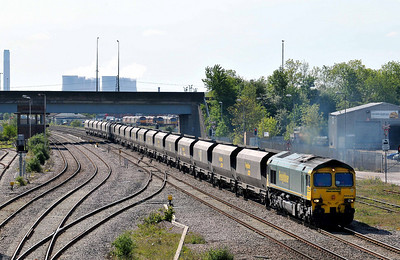Class 66 No 66528 passing Toton on 3 May 2011 with the 4Z61 10:00 Ratcliffe Power Station - Redcar (running 45 min late)
