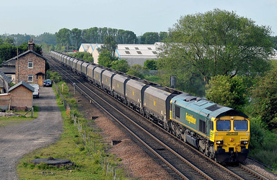 Class 66 No 66514 at Sherburn-in-Elmet on 21 May 2011 with the 4G17 06:35 Drax Power Station - York Up Reception (running 31 min late)