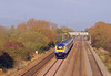 Approaching from Newport the 13:45 HST from Paddington to Cardiff and Swansea races west.