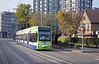 In the opposite direction a tram bound for Beckenham Junction leaving East Croydon.
