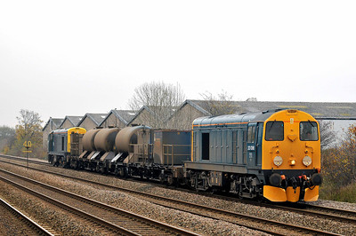 Class 20 No 20096 + 20142 at Thornes on 14 November 2011 with the 3S14 11:13 Grimsby - Malton (via Sheffield) (running on time)