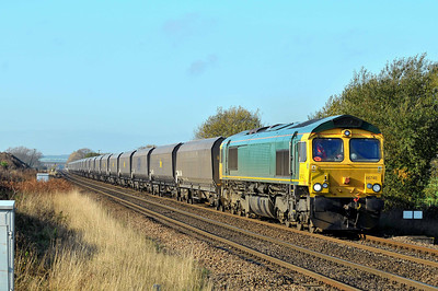 Class 66 No 66740 at Hambleton West Junction on 12 November 2011 with the 4R27 10:55 Ferrybridge Power Station - Doncaster RMT (running 53 min early)