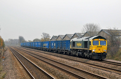 Class 66 No 66951 at Thornes on 14 November 2011 with the 6M07 11:09 Roxby - Pendleton (running 12 min late)